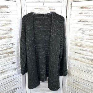 SHEIN / Gray Marbled White Open Knit Cardigan 3XL